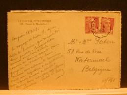 61/710  CP FRANCE POUR LA BELG.OBL.  AMB. 1948