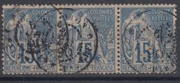 #109# COLONIES GENERALES N° 51 Bande De 3 Oblitéré Saint-Pierre (Réunion)