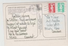 FS798 / FRANKREICH -  Dauermarken Marianne 1991 Auf Karte - France