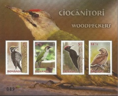 RO 2016- BIRDS WOODPECKERS, ROMANIA, S/S, MNH