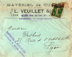 TB 2110 - LSC - Lettre De L. VEUILLET à LYON Puis Manufacture De Jouets En Bois à FLEURIEU SUR SAONE - Marcophilie (Lettres)