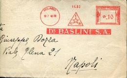 14708 Italia,red Meter,freistempel,EMA,affrancatrice Rossa,1940 Milano  Dr. Baslini S.a. Industria Chimica,circuled Card - Affrancature Meccaniche Rosse (EMA)