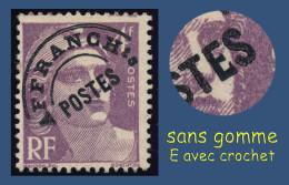 PRÉOBLITÉRÉ N° 97a MARIANNE DE GANDON 1947-54- SANS GOMME = OBLITÉRÉ - E AVEC CROCHET -