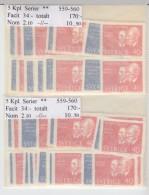 Sweden 1964 - Michel 529-530, 10 Complete Sets MNH **, 10% Of Catalog Value - Neufs