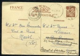 France - Entier Postal Type Irs De Martel Pour Bordeaux Et Redirigé Vers Mont De Marsan En 1940  Réf O 90