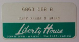 USA - Hawaii - Honolulu - Early Merchant Credit Card - Liberty House - Used - Credit Cards (Exp. Date Min. 10 Years)