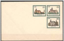 DDR: Intero, Stationery, Entier, Castle, Castello, Château, Carta Bianca/variety White Paper/variété Blanche Du Papier