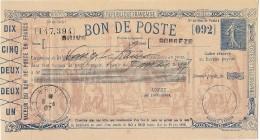 EPALB2- BON DE POSTE SEMEUSE LIGNEE BLEU OBL. BRIVE AVEC TALON - Enteros Postales