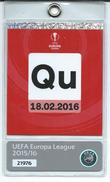 Qu Ticket ( Accreditation ).Football UEFA 2016 - Biglietti D'ingresso