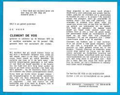 Bidprentje Van Clement De Vos - Lebbeke - 1874 - 1983 (109 Jaar) - Images Religieuses