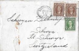 SASKATOON - SCHWYZ → Brief Mit Buntfrankatur  Anno 1939 - 1937-1952 Règne De George VI