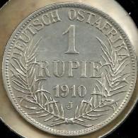 GERMAN EAST AFRICA DOA 1 RUPIE  WREATH FRONT KEISER BACK 1910J AG SILVER KM154 AEF READ DESCRIPTION CAREFULLY !!! - East Germany Africa