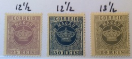 1885 Crown Type Second  Issue Mi 18A,  20A, 21C (*) Unused No Gum EXTREMELY FINE (Macao Macau - Macao