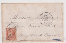 N 48   40C ORANGE SUR LETTRE - SIGNE CALVES - TB - 1870 Bordeaux Printing