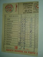 1467) Enalotto Lotto Lotteria Schedina 1968 Prestampata - Fiscali