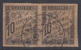 #109# COLONIES GENERALES TAXE N° 6 En Paire Oblitéré Sainte-Suzanne (Réunion)