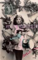 Fillette Sapin Cadeaux Cloches - Joyeux Noel - 1908 -  Scans - Noël