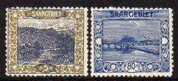 SAARLAND 1921 - MiNr: 53 + 62  * / MH O. Gummi - Ungebraucht