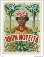 """Petite étiquette Rhum Moyetta  """"femme Coiffe""""  étiquette Ancienne Vernissée  Dimenssion 9,5x12,8 Cm - Rhum"""