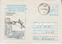 ROMANIA : POLAR BIRD On Postal Stationery Cover Circulated In ROMANIA - Registered Shipping! Envoi Enregistre !