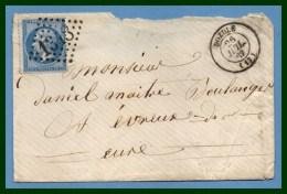 Dozulé (13) GC 1348 T15 1867 > Evreux - Postmark Collection (Covers)