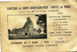 Saint Jouin Sur Mer(76):carte De Visite Du CHATEAU DE SAINT JOUIN SUR MER-HOTEL DE PARIS; Années 1920. - Tarjetas De Visita