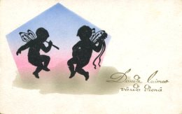 FAIRIES PLAY MUSIC ~ OLD COLORED SILHOUETTE Postcard - Silhouette - Scissor-type