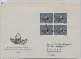 1960 Pro Patria B96/714 Im Viererblock - Stempel: Rütli Wiege Der Freiheit 1. August Bundesfeier - Pro Patria