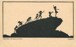 CHILDREN ON ROCK ~  FINE OLD SILHOUETTE Postcard DIEFENBACH - Silhouette - Scissor-type