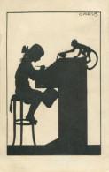 GIRL AND MONKEY ~  FINE OLD SILHOUETTE Postcard CARUS - Silhouette - Scissor-type