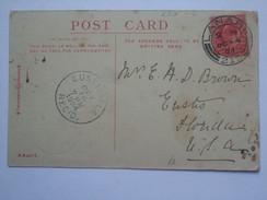 GB EDWARD VII POSTCARD WITH LANARK SCOTLAND DOUBLE RING POSTMARK 1904 SENT EUSTIS FLORIDA - 1902-1951 (Re)