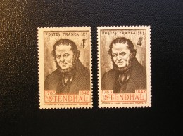 550  Stendhal  Lot De 2 Avec Variété Ligne Rouge  1942  Neuf, Sans Charnière