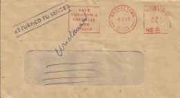"Guyana 1985 Georgetown Returned Insurance Meter Franking Neopost ""205/2205"" NE 20 New Amsterdam Instructional Handstamp - Guyana (1966-...)"