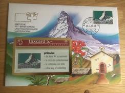 Carte Privée Carte Et Timbre Matterhorn  Oblitération Zermatt  20.04.1993 Philswiss - Suisse