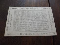 Chromo Ancien Calendrier 1879 Lyon Chocolat De La Cie D'Orient - Chocolat