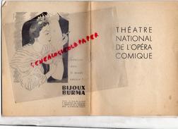 THEATRE NATIONAL DE L' OPERA COMIQUE - LE BARBIER DE SEVILLE-9 JUIN 1951- BAUDECROUX-TURBA RABIER-AMADE-LEGOUHY-CLEMENT - Programs