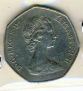 PIECE MONNAIE 50 PENCE 1973 ELISABETH II # MARCHE COMMUN - 1971-… : Monnaies Décimales