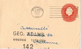 19757. Entero Postal RICHMOND (Victoria) Austraia 1956