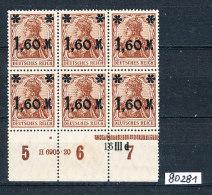 Deutsches Reich Michel  154 A Stumpfer Aufdruck 6er Block Unterrand Mit HAN 6905.20 Und Schwarzer Druck Nr. 16 III  ++