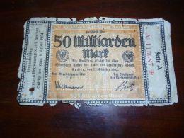 AA1-4 Billet Allemagne.Stadt-und Landkreis Aachen.Gutschein Uber.1923.10 50 Milliarden Mark. - [ 3] 1918-1933: Weimarrepubliek