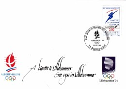 FRANCE ENVELOPPE FDC XVIe JEUX OLYMPIQUES ALBERVILLE 92 . A BIENTOT A LILLEHAMMER / 6045