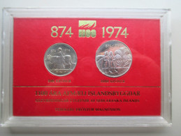 ICELAND  SILVER 500+1000 KRONUR  1974   UNC COIN SET  YEAR 1100th ANNI SETTLEMENT IN MINT PACK - Islande