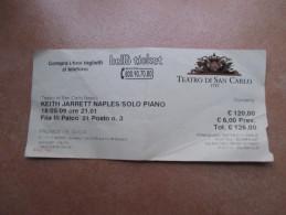 Napoli Teatro SAN CARLO KEITH JARRET Naples SOLO PIANO 18 Maggio 2009 Prezzo 120,00 Usato - Tickets - Vouchers