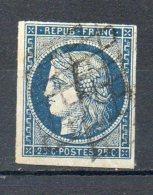 FRANCE - 1850 - Type Cérès - N° 4a - 25 C. Bleu Foncé - (Oblitération Grille)