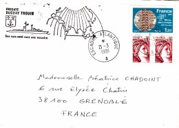 FRANCE FREGATE DUGUAY TROUIN ESCADRE ATLANTIQUE 1981/ 6983 - Poststempel (Briefe)