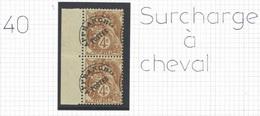 Préoblitéré 40 Blanc - Variété Surcharge à Cheval Avec Bord De Feuille - Assez RARE-ENVOI GRATUIT JUSQU'AU 27/01/21 - 1893-1947