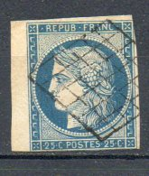 FRANCE - 1850 - Type Cérès - N° 4 - 25 C. Bleu - (Oblitération Grille) - 1849-1850 Cérès