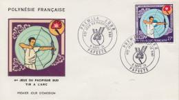Enveloppe FDC  1er Jour   POLYNESIE  4éme  Jeux  Du   Pacifique  Sud   TIR  A  L' ARC   1971