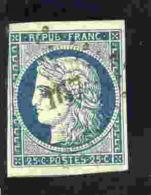 FRANCE - 1849-50 - Type Cérès - N° 4 - 25 C. Bleu (oblitéré : Losange  Petits Chiffres N° 167)