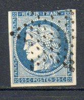 FRANCE - 1850 - Type Cérès - N° 4 - 25 C. Bleu (Oblitération : Etoile Pleine De Paris)
